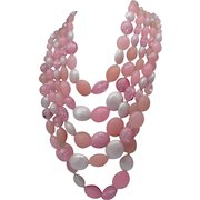 Chunky 1960 Pink Plastic 5 Strand Necklace