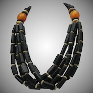Amber Bone Tribal Necklace