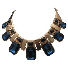 Chunky Sapphire Deco Style Necklace 80's