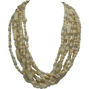 Ivory Celluloid 8 Stand Necklace c1970