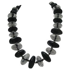 Op Art Lucite Necklace Black and Clear Necklace