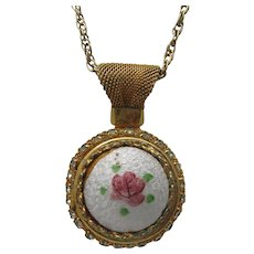 Guilloche Rose Pendant Locket