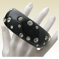 Black Celluloid Rhinestone Bracelet Stacking