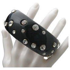 Black Celluloid Rhinestone Bracelet Stacking