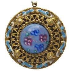 Italian Millefiori Filigree Pendant Necklace
