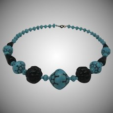 Art Deco Blue Black Glass Necklace
