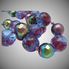 Plum Foiled Glass 2 Strand Necklace W.Germany