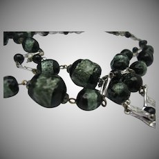 Venetian Foiled Glass 2 Stand Necklace c1940