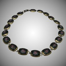 Enameled Rose Necklace  1960 Choker