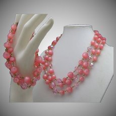 Moonglow Pink Necklace Bracelet Set 1960