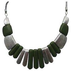 Modernist Green Celluloid Necklace