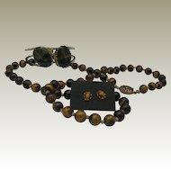 Tigers Eye Parure Necklace Earrings Bracelet