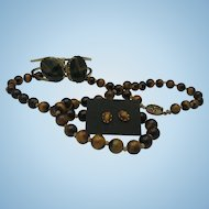 Tigers Eye Parure Necklace Earrings Bracelet