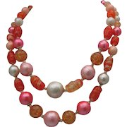Coral Glass Mid Century Necklace