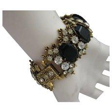 C1960 Bracelet Faux Diamonds Black Clear