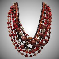 Necklace Earrings Set Glass Beads 1950
