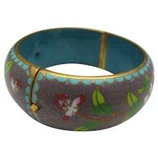 Cloisonne Hinged Bracelet c1960