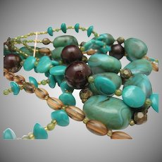 Faux Turquoise heishi bead Necklace