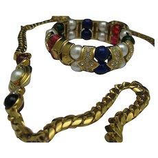 Crusted Faux Gem Bracelet Necklace