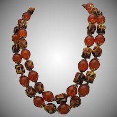 Amber 2 Strand Necklace c1970