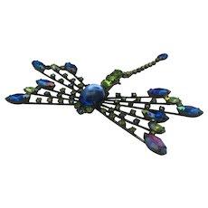 Dragonfly Rhinestone Brooch Japanned