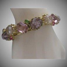 Rhinestone Hinged Bracelet c1970