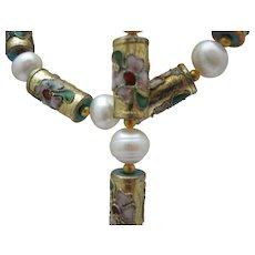 Pearl and Cloisonne Necklace Bracelet Set