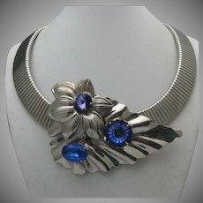 Collar Style Blue Rhinestone Necklace c1970
