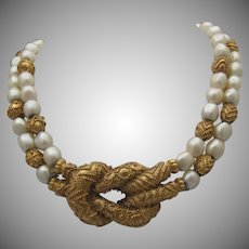 Baroque Faux pearl Necklace Snake style