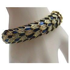 Peacock Enameled Snake Bracelet