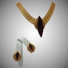 Mesh Ruby Necklace Earrings