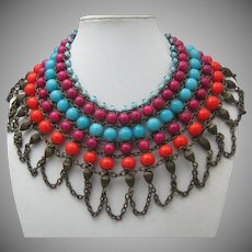 Cleopatra Style Glass Bead Necklace