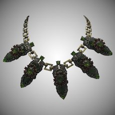 Green Pink Rhinestone Necklace