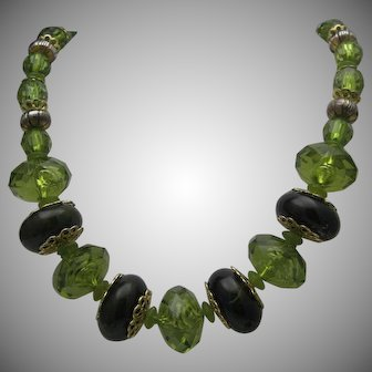 Green Faux Crystal Necklace c1970