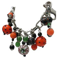 Lampwork Glass Bead Charm Bracelet