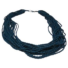 Marine Blue Metal Multi Strand Necklace