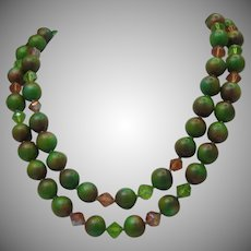 Apple Green Crystal Necklace c1950