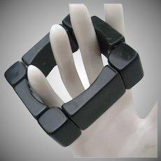 Black Deco Style Celluloid Stretch Bracelet