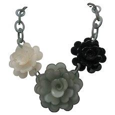 Lucite Floral Necklace c1980