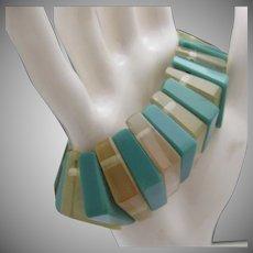 Turquoise Celluloid Stretch Bracelet c1950