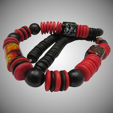 Deco Style Black Red Necklace