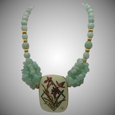 Cloisonne Pendant Celadon Necklace