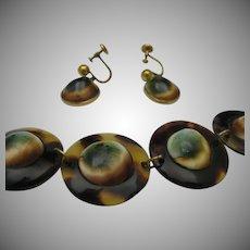 Victorian Operculum Bracelet Earrings 12 k Gold