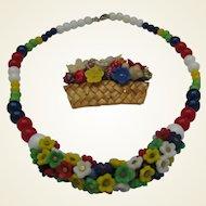 Glass Posy Necklace brooch set c1940