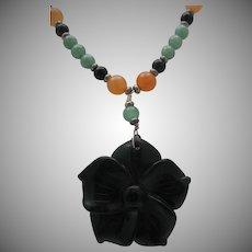Oriental Jade Flower Pendant Necklace
