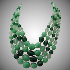 Green Glass 4 Strand Necklace 60 's