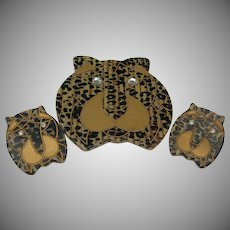 Celluloid Leopard Brooch and Earrings