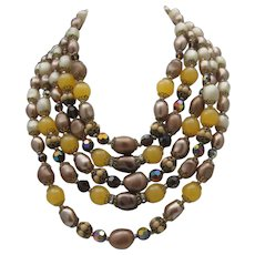 Opulent Five Strands Glass Necklace