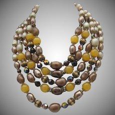 Opulent Five Strands Glass Necklace