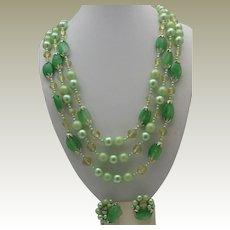 Mint Green Glass Necklace earrings Set